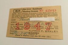 1947 Vintage New Jersey Resident Hunting License