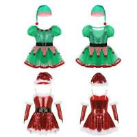 Girls Christmas Costume Baby Party Dress Outfits Kids Sequins Hat Set Dancewear