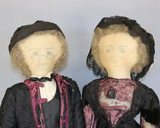 """Antique """"Ink Drawn Faces"""" Cloth Dolls - Sold As A Pair"""