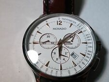 Movado Circa Chronograph White and Rose Dial, beautiful, pre-owned, 35.1.14.1184