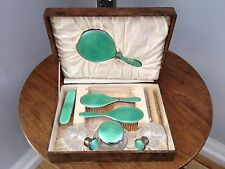 ANTIQUE ART DECO COMPLETE GUILLOCHE & WHITE METAL DRESSING TABLE SET IN CASE