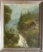 ::ROMANTIKER BIEDERMEIER UM 1850 ALPEN GEBIRGSBACH MONOGRAMM H.G RAHMEN ANTIK ÖL