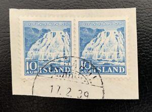 Iceland RARE cancel MJÓABÓL(B1a) 1939 Dynjandi pair on piece CV$95