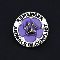 PURPLE POPPY - ANIMALS IN CONFLICT - REMEMBRANCE BADGE - SILVER            (P27)