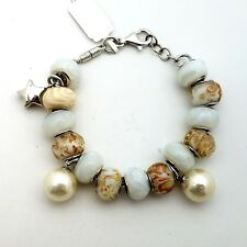 New Sterling Silver 925 Murano Glass Mixed White Charm Beads Bracelet 7' in