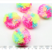 25pcs POMS Yarn Pom Poms - Medium approx 5cm Multi pink yellow blue neon colors