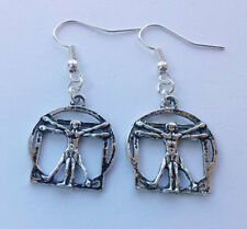 Vitruvian Man Earrings,Leonardo Da Vinci Earrings,Silver Earrings,Renaissance