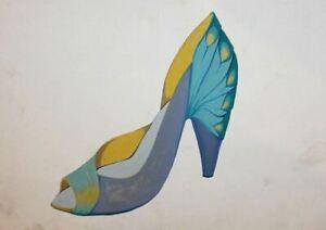 Vintage gouache painting woman high heel shoe design