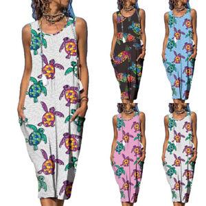 Women's Round Neck Sleeveless T-Shirt Dress Ladies Casual Loose Print Sundress