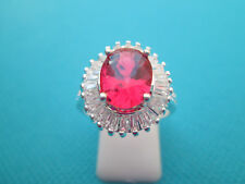 925 Sterling Silver Ring With Pink Tourmaline UK P, US 7.75 (rg2188)
