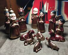 Pottery/clay Mexican creche nativity set handmade 13 pc red gold PERFECT