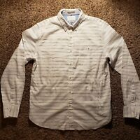 Men's Denim & Flower Size Large White Button Down Slim Fit Ricky Singh - *READ*
