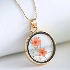 Dried Real Flowers Round Clear Resin Glass Pendant Necklace Glamorous Boutique