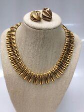 Stunning statement vtg  Francois Coro Modernist gold tone Earrings Set necklace