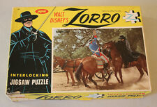"Vintage Walt Disney's ZORRO 1958 Jaymar Jigsaw Puzzle ""Flashing Steel"" Complete"