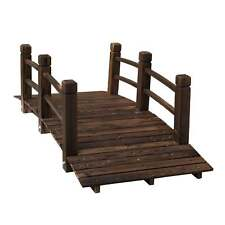 Outdoor 5 ft Wooden Garden Bridge Arc Stained Finish Footbridge with Safety Rail