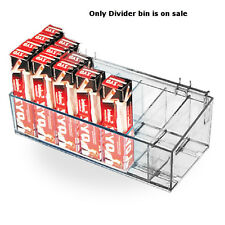 """New Retail Clear Acrylic 16"""" Divider Bin w/ 2 Plastic Hooks 16"""" W X 7"""" D X 4"""" H"""