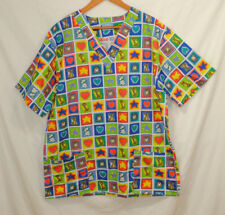 Scrub Co Size 3XL Scrub Top Dogs Stars Hearts Nurse Doctor Veterinarian Pockets