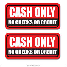 "2x Cash Only sticker / decal / business / register / checks / 8"" / 3M / window"