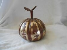 Brass Metal Fruit Pumpkin Table Decor with Carved People Images