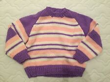 NEW Hand Knitted Baby Girl Jumper White Purple Pink Stripes Size 1-3