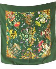 Gucci Foulard Seta Silk 100% Vintage Verde Bosco V.accornero Usato 84x86