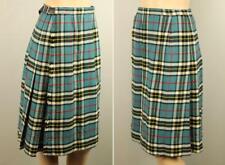Vtg KINLOCH ANDERSON Scotland Tartan Plaid Check Wool Wrap KILT Skirt w Leather