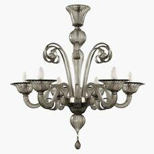 Lámpara de Araña 6 Luces Vidrio Murano Gris Adecuado A Cada Ambiente Con Cifra