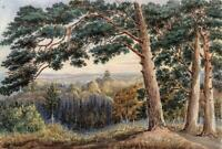 FROM CHOBHAM PLACE NEAR THE ROUND POND SURREY Watercolour Painting 19TH CENTURY