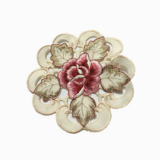 Yazi Embroidery Satin Tablecloth BEDSTAND Doily Table Cloth Runner Cover Gift 15cm Round Coasters