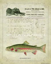 Fly Fishing Patent  Poster Art Print Vintage Lure Rainbow Trout Fish LTR10