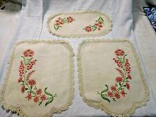 Antique 3 Piece Embroidered Linen ~ Armchair Set ~ Textiles ~ Antimacassar #1940