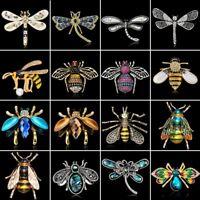 Fashion Dragonfly Bee Animal Crystal Brooch Pin Lady Jewelry Wedding Bride Gift