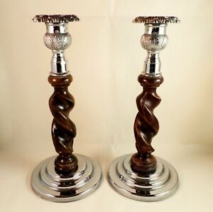Vintage OAK TWIST Pair of CANDLESTICK HOLDERS Chrome base and top THISTLE
