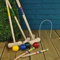 Outdoor Garden Family Fun Game 4 Player Wooden Croquet Complete Set Mallet Ball