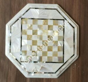 "12""x12"" Handmade Collectible Chess Coffee Table Mop Mosaic Design Home Décor Art"