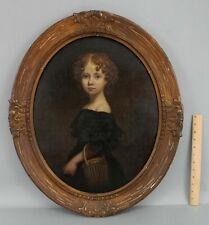 Early Antique 18thC American Portrait Oil Painting Young Girl w/ Basket NR