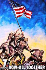 1945 Battle Iwo Jima Marines WWII American Patriotic Advertisement Art Poster