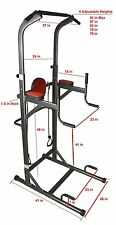 DELUXE POWER TOWER CHIN UP STATION KNEE AB PULL UP DIP RAISE VKR HOME GYM NEW