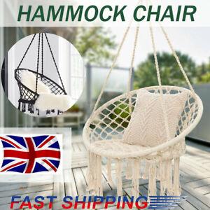 Hammock Swing Chair Hanging Rope Seat Net Chair Garden Macrame Swing UK STOCK