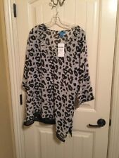 Women's Size XL Swim Coverup  Blouse Black White Cheetah Print Crystal Neckline