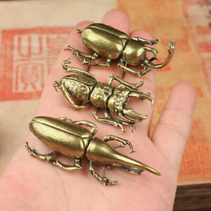 Mini Brass Insect Cute Animal Figurines Statue Hercules Beatles Insects Decor