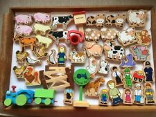 40 WOODEN FARM ANIMALS/PEOPLE:TWO SETS + FENCES + TRACTOR + SIGNS + BUCKET