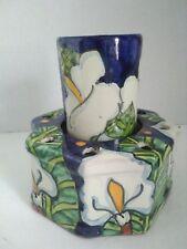calalily talavera Mexican toothbrush holder cup calla lilies octagon ceramics