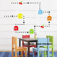 PACMAN Wall Stickers Art Decal Boys Kids Bedroom Retro Game Vinyl Mural Decor