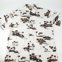 Campia Moda Hawaiian Aloha Camp Shirt Mens L 100% Cotton White Palm Trees