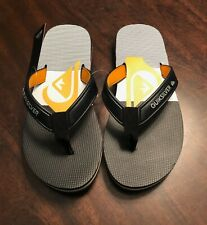 Quiksilver Flip Flop Mens Size 8 Yellow Logo Textured Rubber Flip Flops New