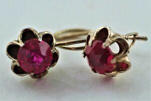 Russische Ohrringe Silber 875 Vergoldet mit Stein
