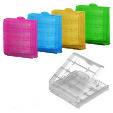 Hard Plastic Case Cover Holder for 4pcs AA AAA Battery Storage Box Organizer