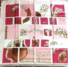 CARTIER Scarf Stole Silk 100% Panther Leopard Jewelry Animal Women Pink New Rare